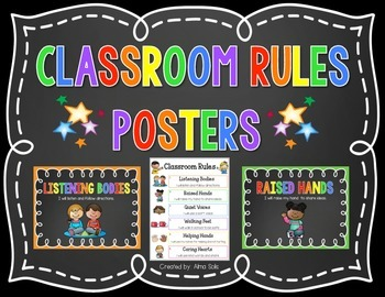 Classroom Rules (Chalkboard Posters)