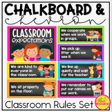 Classroom Rules Display Bundle in a Chalkboard & Chevron Classroom Decor Theme