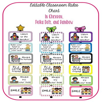 Editable Classroom Rules - Chevron, Polka Dots, and Rainbow