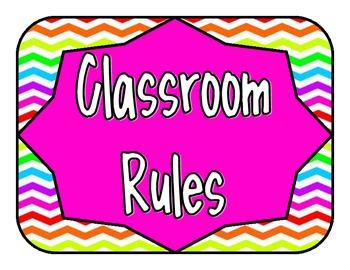 Classroom Rules - Chevron Stripe