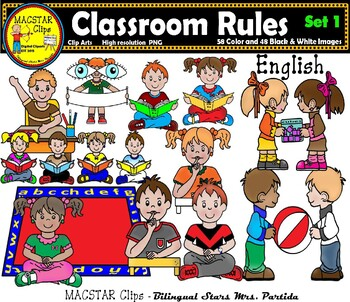 Classroom english. Rules clipart bundle clips
