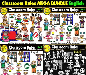 Classroom Rules Clipart Bundle English & Spanish Clips Bilingual Stars