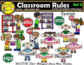 Classroom Rules Clipart Bundle Spanish Clips Bilingual Stars Mrs. Partida