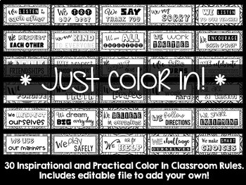 Classroom Rules - Color In {Editable}