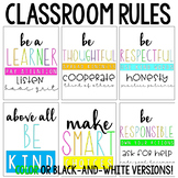 PBIS Classroom Rules Posters (Brights or Black and White)