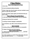 Classroom Rules, Consequences, and Worksheet