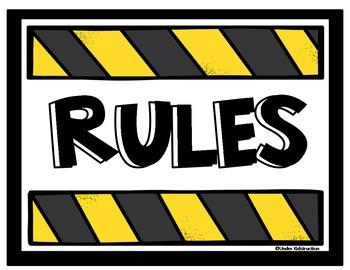 Classroom Rules-Construction Theme (Editable)