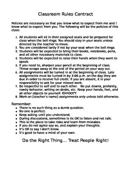 Classroom Rules Contract