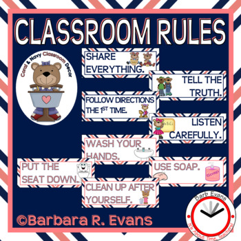 CLASSROOM RULES Coral Navy Theme Classroom Decor Classroom Management