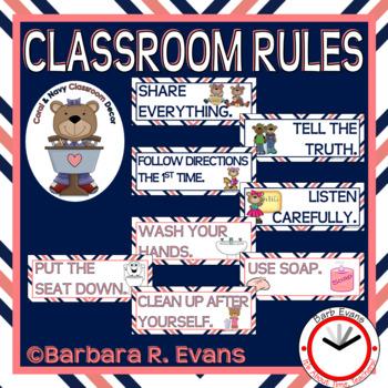 CLASSROOM RULES Coral Navy Theme Classroom Decor Classroom Management