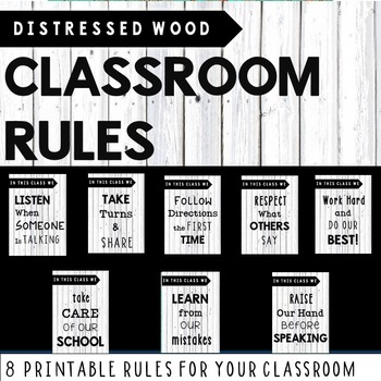 Classroom Rules -Distressed Wood White (Classroom Decor)