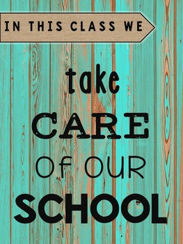 Classroom Rules - Distressed Wood and Burlap Rustic Decor