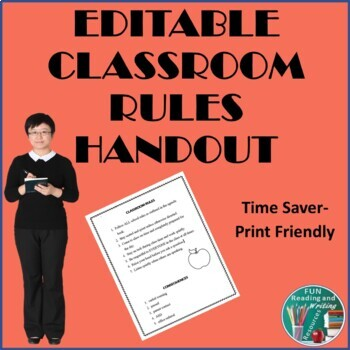Classroom Rules - Editable for the First Week of School