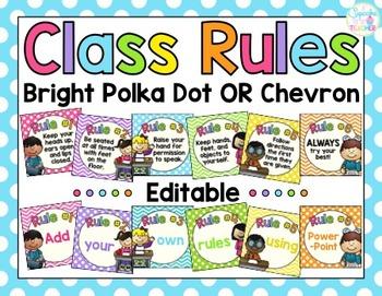 Classroom Rules {Editable!} Bright Polka Dot OR Chevron