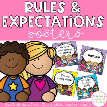 Classroom Rules - Editable & New South Wales Fonts