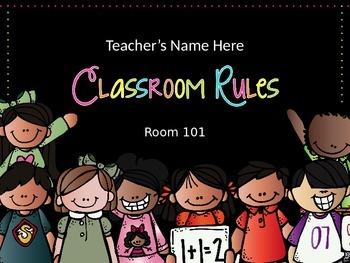 Classroom Rules - Editable Presentation {Melonheadz Chevro
