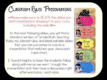 Classroom Rules - Editable Presentation {Melonheadz Polka Dot Edition}