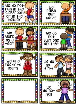 Classroom Rules Editable~ Rainbow Chevron Themed