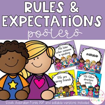 Classroom Rules - Editable & South Australian Fonts