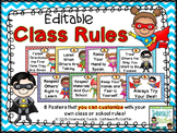 Classroom Rules: Editable Superhero Theme
