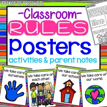 Rainbow Design Classroom Rules for Preschool, Pre-K, and Kindergarten