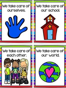 Rainbow Design Classroom Rules for Preschool, Pre-K, and Kindergarten