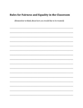Classroom Rules - Fairness and Equality