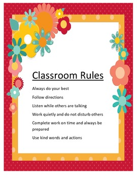 Classroom Rules Flowers Theme