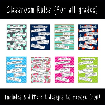 Classroom Rules {For ALL Schools}