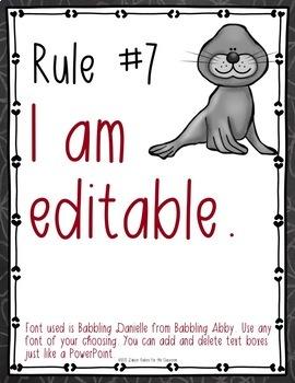 Classroom Rules EDITABLE Text - Zoo Animals