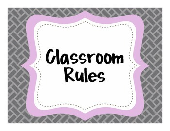{Classroom Rules} Gray and Purple