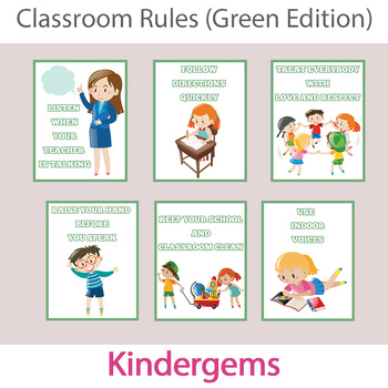 Classroom Rules (Green Edition) Instant Download PDF; Pres