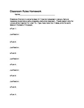 Classroom Rules Homework