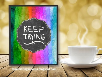Rainbow Theme Motivational Quote Poster KEEP TRYING Handwritten Classroom Decor