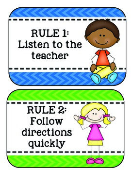 Classroom Rules Kindergarten- Clip Chart Compatible by ...