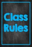 Classroom Rules- L.E.A.R.N. Chalkboard Neon Design with Purple