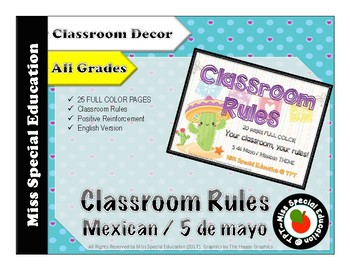 Classroom Rules - MEXICAN THEME - 25 pages - FULL COLOR - All grades