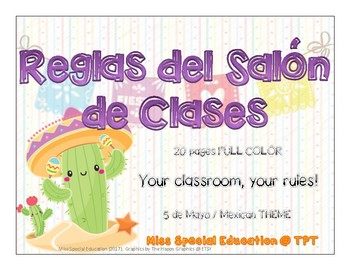 Reglas del Salón de Clases  - MEXICAN THEME - 25 pages - FULL COLOR - SPANISH