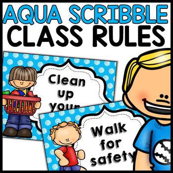 Classroom Rules MIX AND MATCH (Aqua Polka Dot Scribble)
