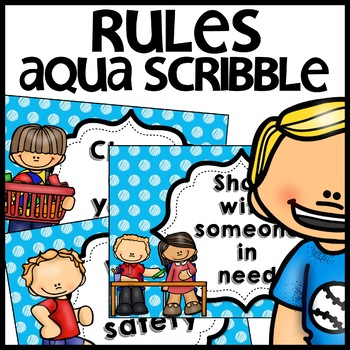 Classroom Rules MIX AND MATCH (Aqua Polka Dot Scribble)
