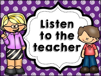 Classroom Rules MIX AND MATCH (PURPLE Polka Dot Scribble)