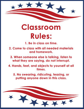 Classroom Rules - Middle School - Social Studies