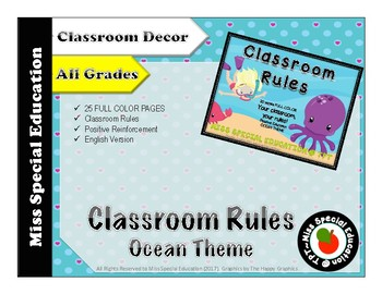 Classroom Rules - OCEAN THEME - 20 pages - FULL COLOR - All grades