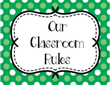 Classroom Rules - Orange and Green Polka Dots