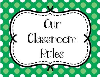 Classroom Rules - Orange and Green Polka Dots