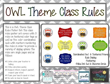 Classroom Rules Owl Version with Chevron Accents