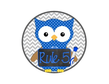 Classroom Rules Owl Version with Chevron Accents - Version 2