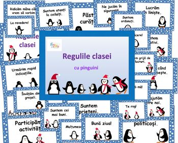 Classroom Rules Penguin Decor in Romanian Language, Regulile clasei Pinguini