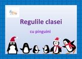 Classroom Rules Penguin Decor in Romanian Language, Reguli