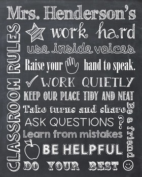 Classroom Rules Personalized Chalkboard Chalk It Up! Poster Sign School Rules